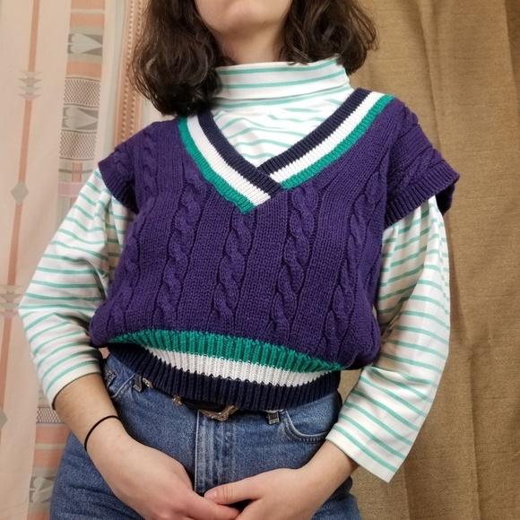 Vtg 80s 90s Preppy Chunky Knit Sweater Vest